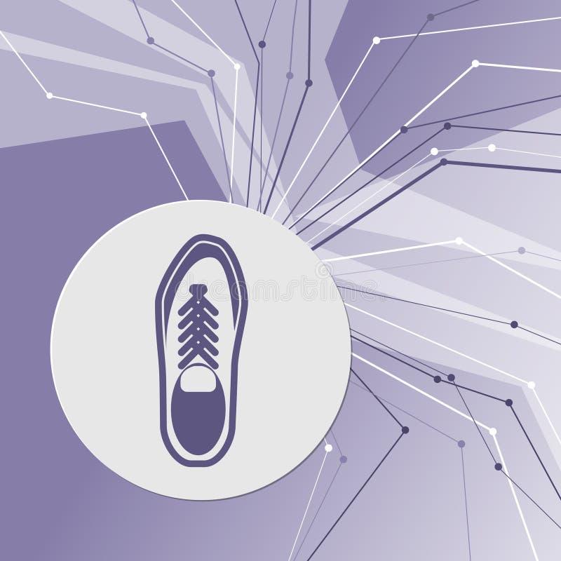 Laag schoenpictogram op purpere abstracte moderne achtergrond De lijnen in alle richtingen Met ruimte voor uw reclame royalty-vrije illustratie