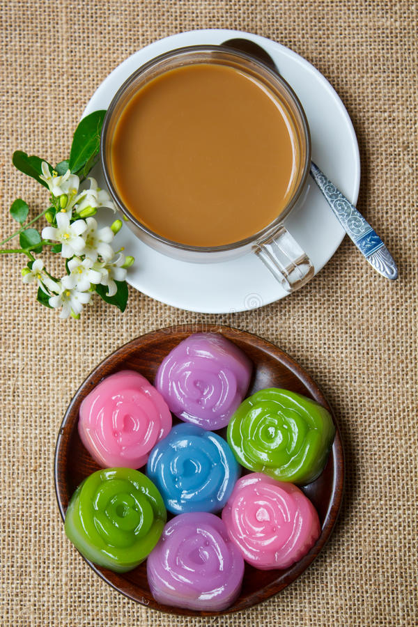Laag Zoete Cake (Kanom Chan) stock fotografie