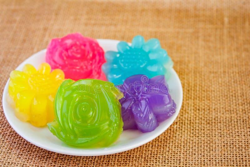 Laag zoete cake Khanom Chan, Thais dessert royalty-vrije stock foto's