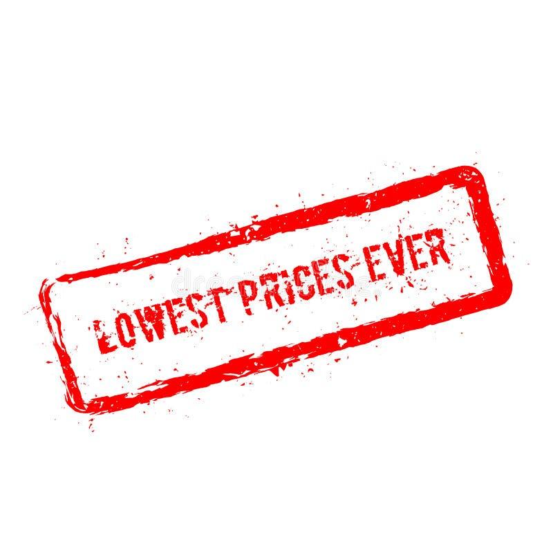 Laagste geïsoleerde prijzen ooit rode rubberzegel vector illustratie
