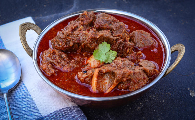 Laal Maas Lamb Red Curry. Spicy Goat/Lamb Indian red curry stock image