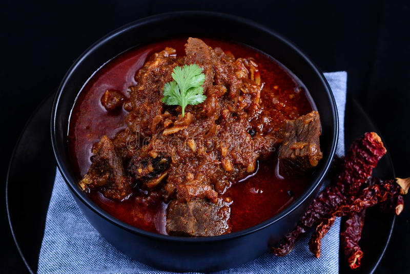 Laal Maas Lamb Red Curry. Spicy Goat/Lamb Indian red curry from the land of Rajasthan stock image