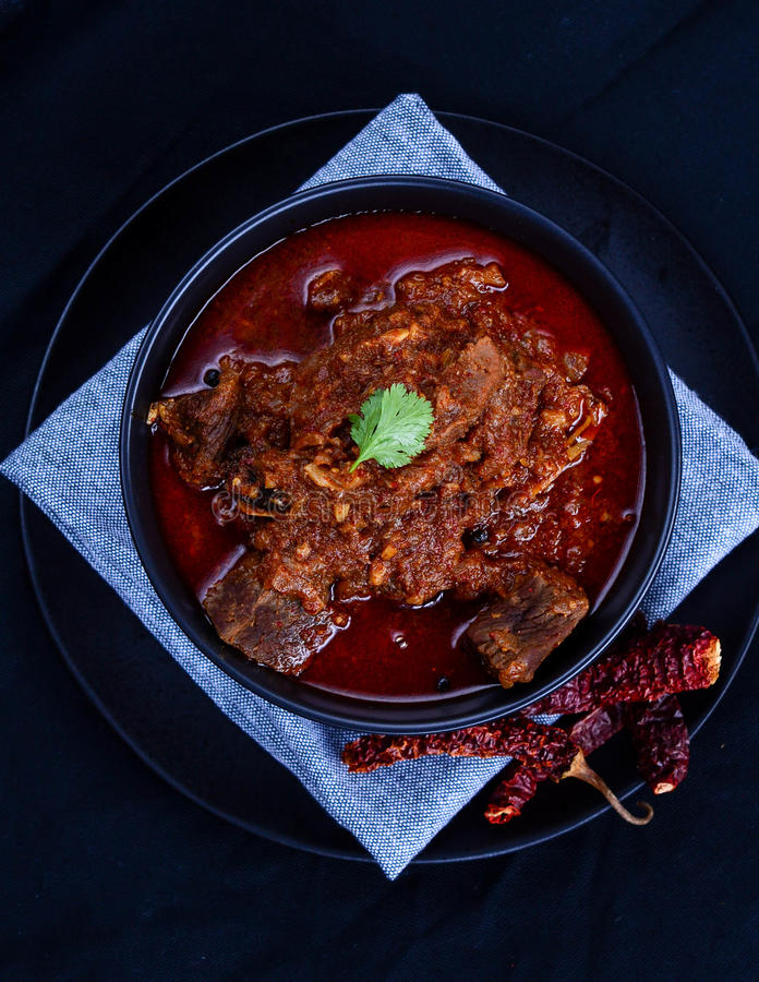 Laal Maas Lamb Red Curry. Spicy Goat/Lamb Indian red curry from the land of Rajasthan royalty free stock photo