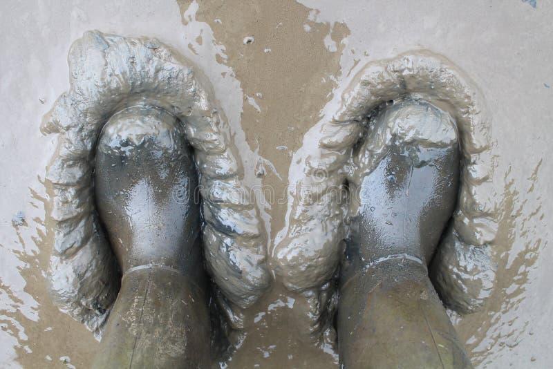 Laarzen die in de Modder worden geplakt stock foto