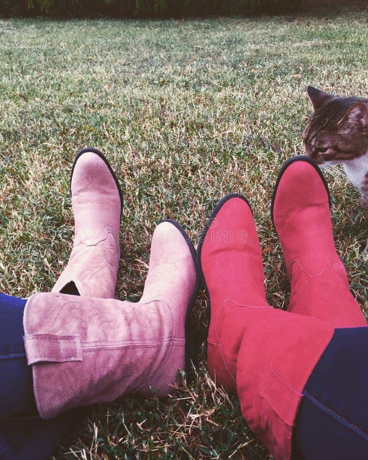Laarzen en sokken, de pot royalty-vrije stock fotografie