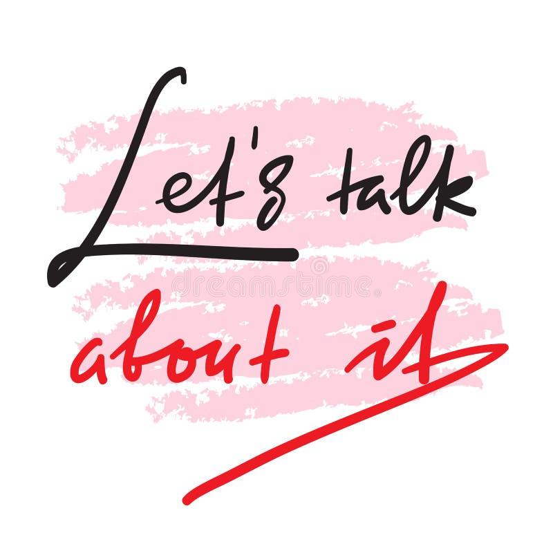 Laat bespreking over het - eenvoudig om te inspireren en motievencitaat Hand het getrokken mooie van letters voorzien stock illustratie