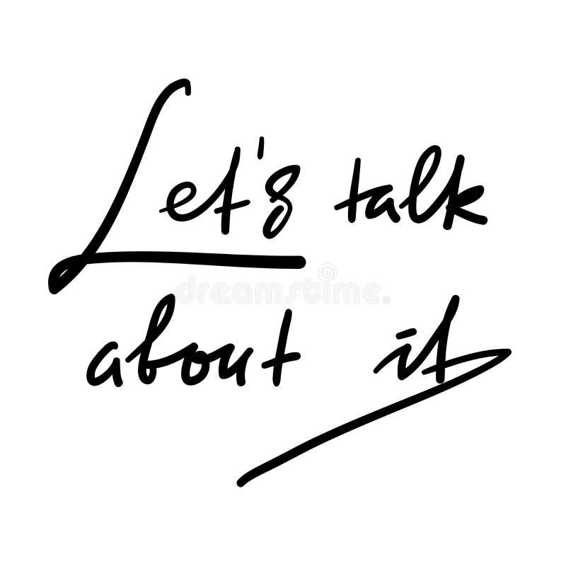 Laat bespreking over het - eenvoudig om te inspireren en motievencitaat Hand het getrokken mooie van letters voorzien Druk voor i royalty-vrije illustratie