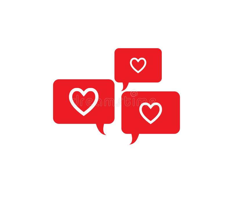 Laat bespreking over liefde, Baby! Het ontwerp van het Webpictogram met rode toespraakbellen en harten stock illustratie