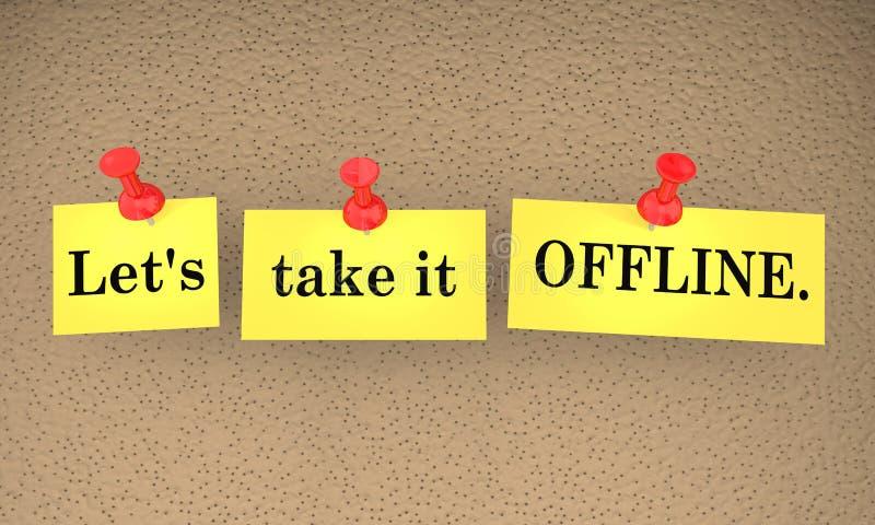 Laat het Offline nemen Communicatie Kleverige Nota'sbespreking Recenter 3d IL royalty-vrije illustratie