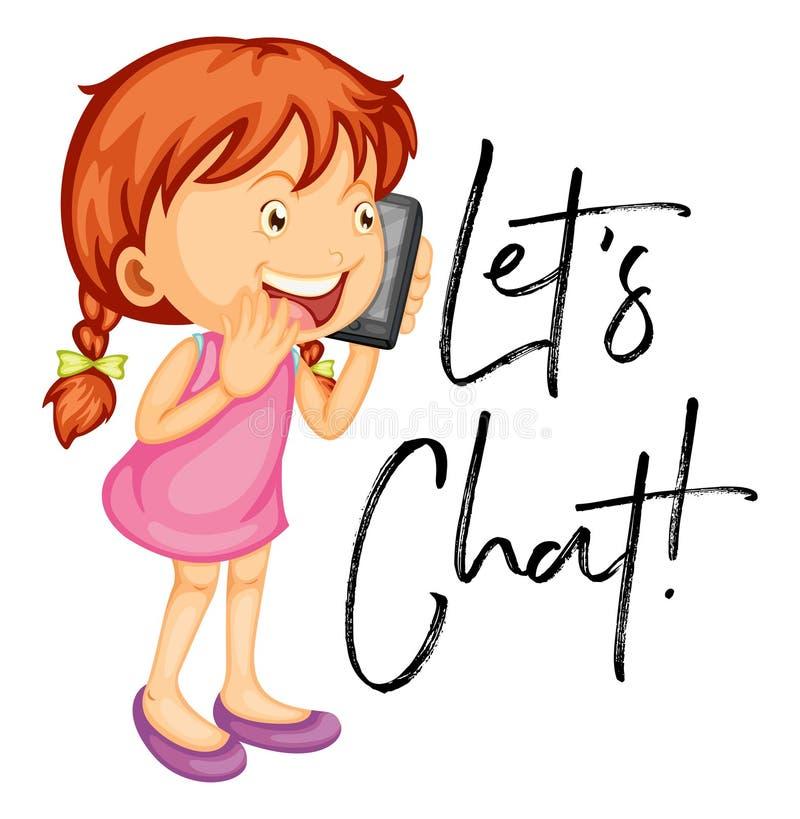 Laat het praatjeaffiche van ` s met meisje het spreken op mobiele telefoon royalty-vrije illustratie