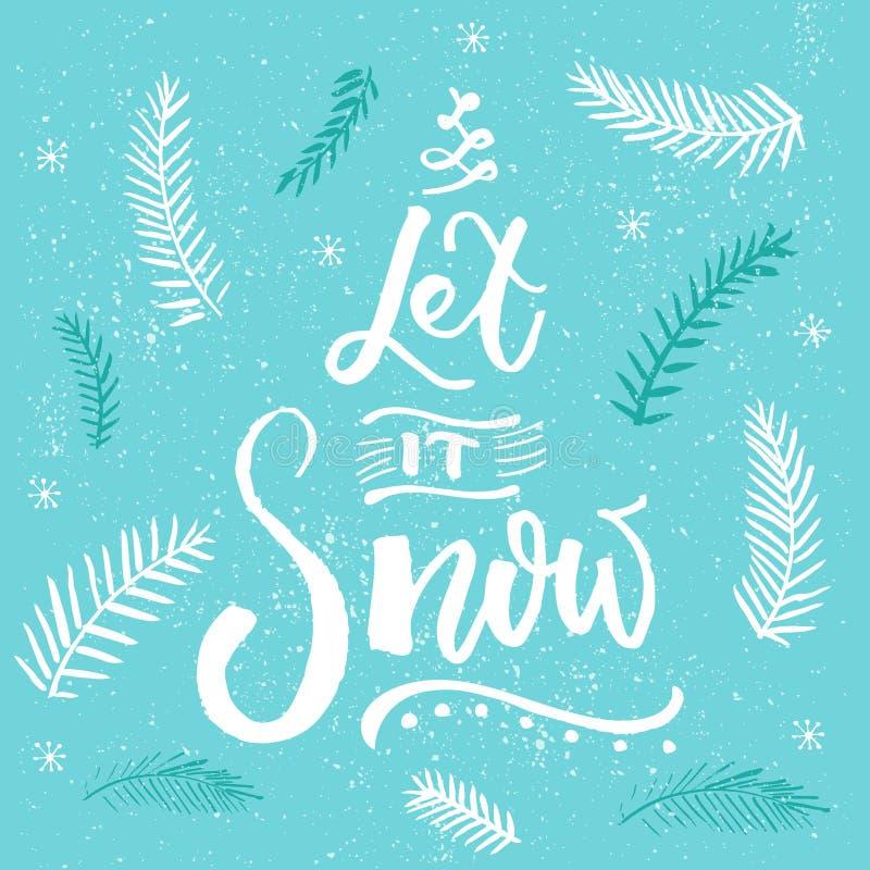 Laat het sneeuwen Kerstkaart vectorontwerp, borstel het van letters voorzien bij blauwe achtergrond met sneeuwvlokken en Kerstboo royalty-vrije illustratie