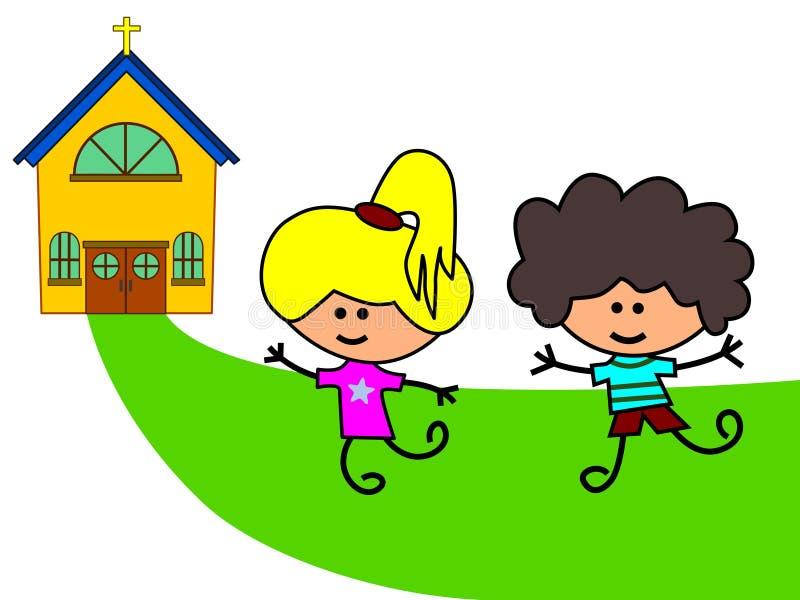 Laat naar kerk gaan royalty-vrije illustratie