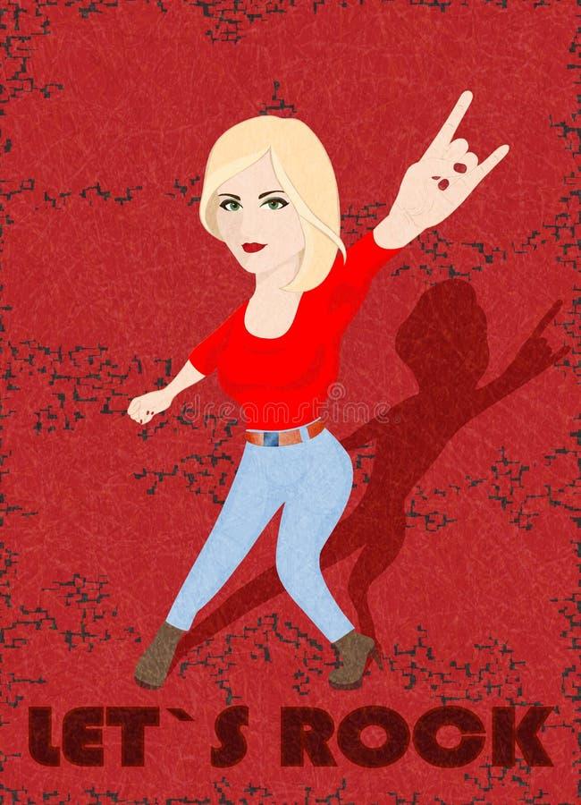 Laat s-rots, het meisje die van de blondetuimelschakelaar rotsteken op rode achtergrond met gekraste textuur doen, grunge stock illustratie