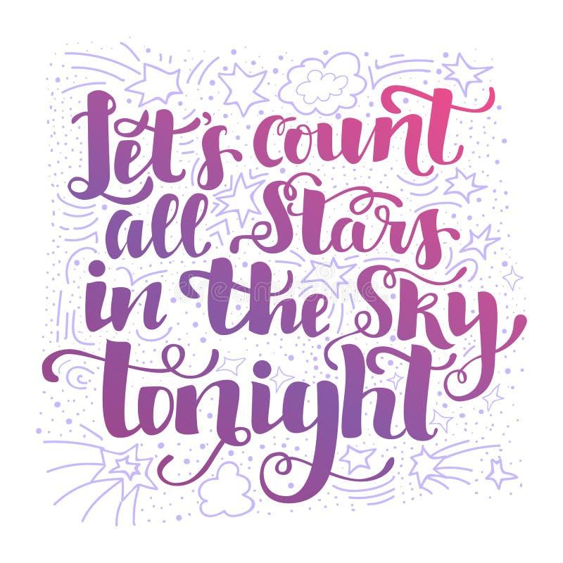 Laat telling de sterren vanavond op de hemel stock illustratie