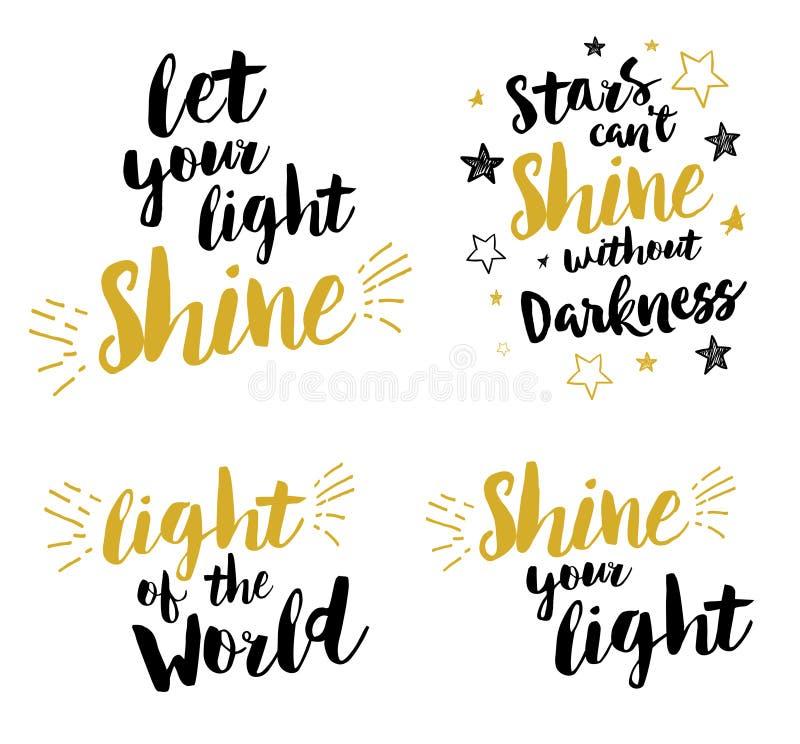 Laat uw licht glanzen Christen die voor het drukken geschikte reeks van letters voorzien stock illustratie