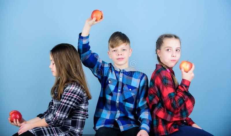 Laat voedsel thy geneeskunde zijn De kleine jonge geitjes genieten van etend natuurvoeding Kleine kinderen die rode sappige appel royalty-vrije stock foto's
