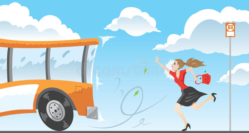 Laat voor de bus royalty-vrije illustratie