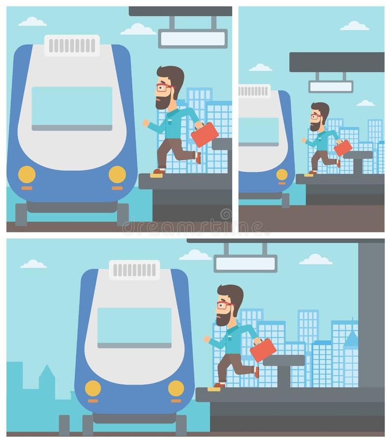 Laatkomermens die voor de trein lopen stock illustratie