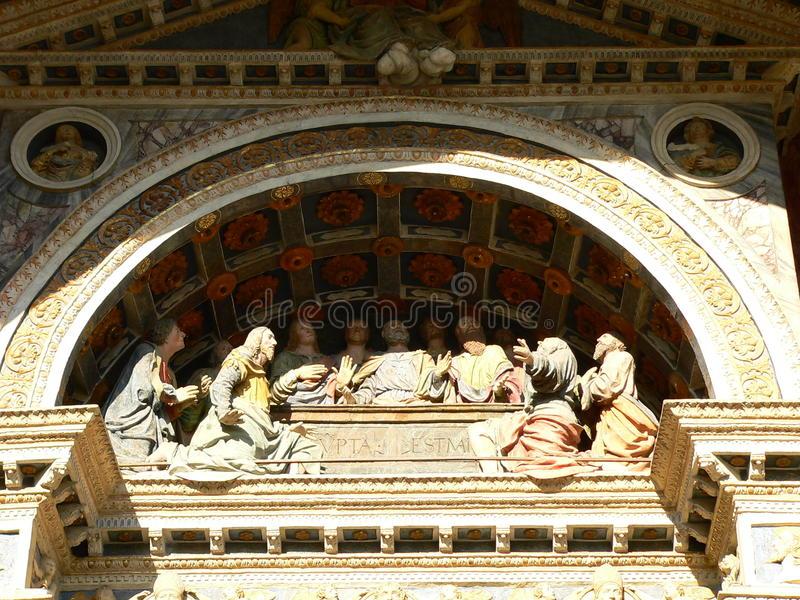 Laatste Diner, Cathedrale-notre-dame-DE-L'Assomption, Aoste (Italië) royalty-vrije stock fotografie