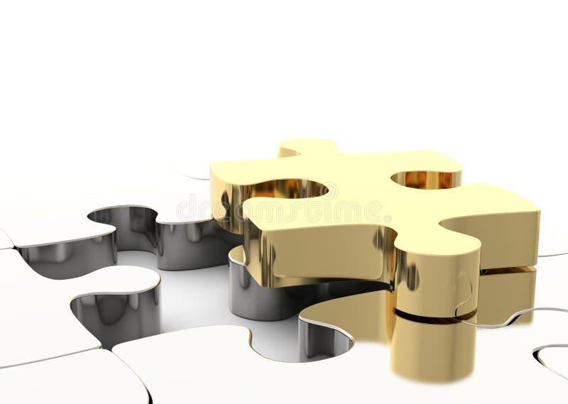 Laatste gouden raadselstuk om een figuurzaag te voltooien Concept Bedrijfsoplossing vector illustratie