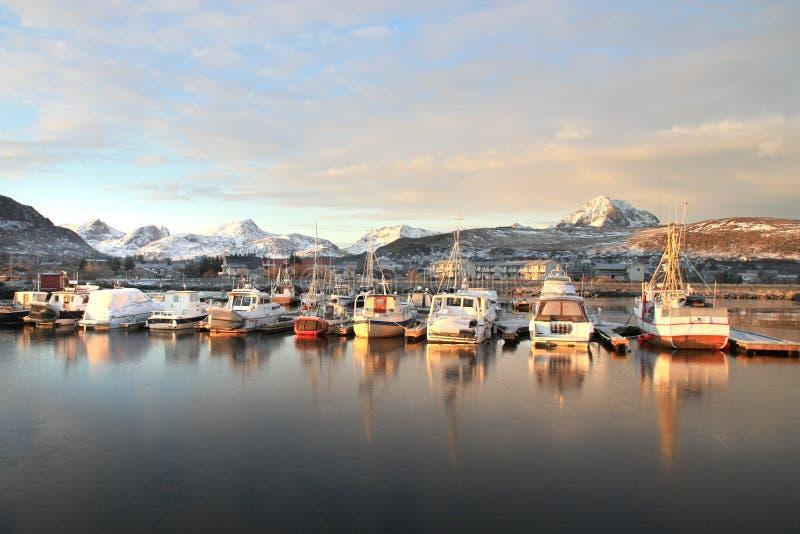 Laatste zonlicht op haven Gravdals royalty-vrije stock foto