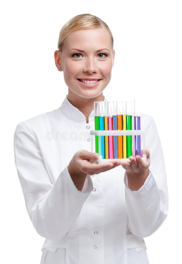 Lab Assistant Holds Test-tubes Rack Stock Photos
