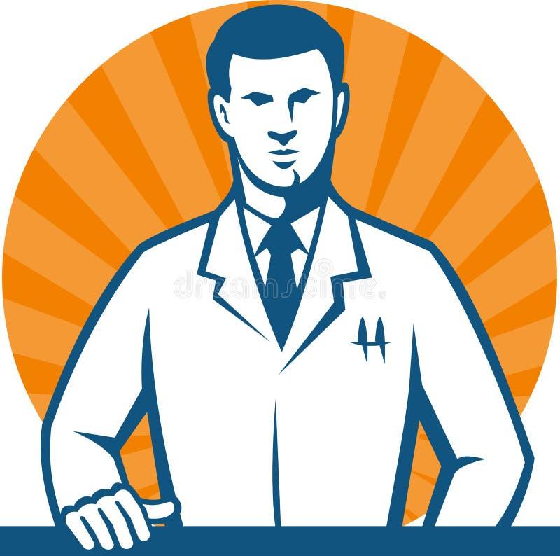 lab badacza naukowa technika krawat ilustracji