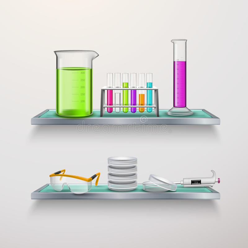 Lab Equipment On Shelves Composition royalty free illustration