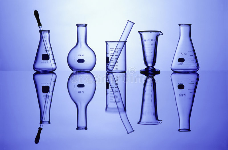 Download Lab Glassware on Blue stock photo. Image of container - 3893262