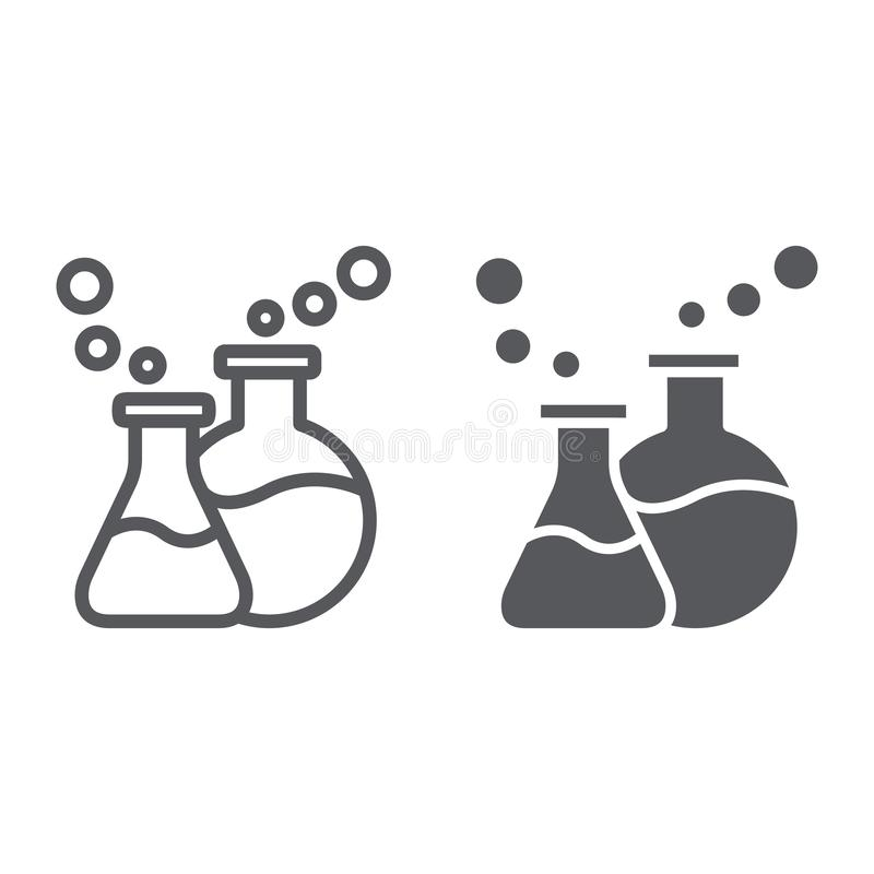 Lab glassware linia, glif ikona, nauka i laboratorium, chemiczne kolby podpisujemy, wektorowe grafika, liniowy wzór na a royalty ilustracja