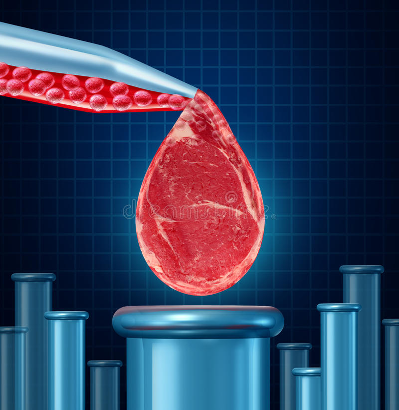 Lab Grown Meat. Concept as laboratory equipment developing artificial beef by cultivating animal tissue in vitro resulting in cruelty free synthetic protein vector illustration