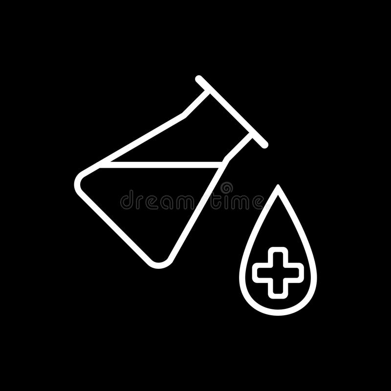 Lab ikona Wektorowa ilustracja odizolowywająca na czarnym tle Medyczny substancja symbol ilustracji