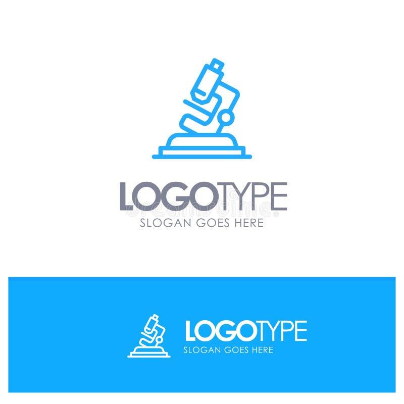 Lab, mikroskop, nauka, Zbliża Błękitnego logo Kreskowego styl ilustracja wektor