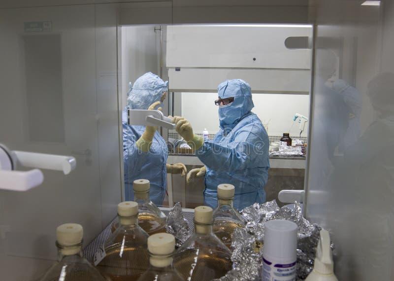 Lab pracownicy w ochronnej odzieży, praca na kultura środku, Polska, 01 2013 zdjęcia royalty free