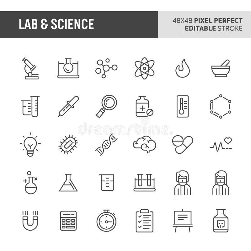 Lab & Science Vector Icon Set royalty free illustration