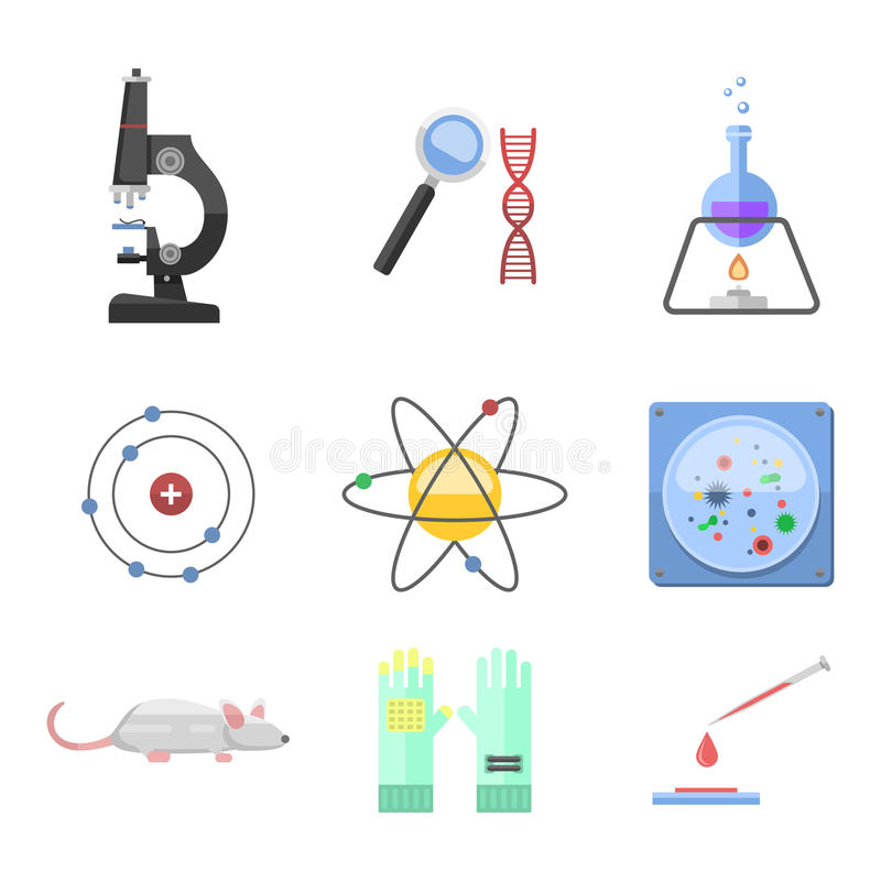 Lab symbols test medical laboratory scientific biology design molecule microscope concept and biotechnology science. Chemistry icons vector illustration vector illustration