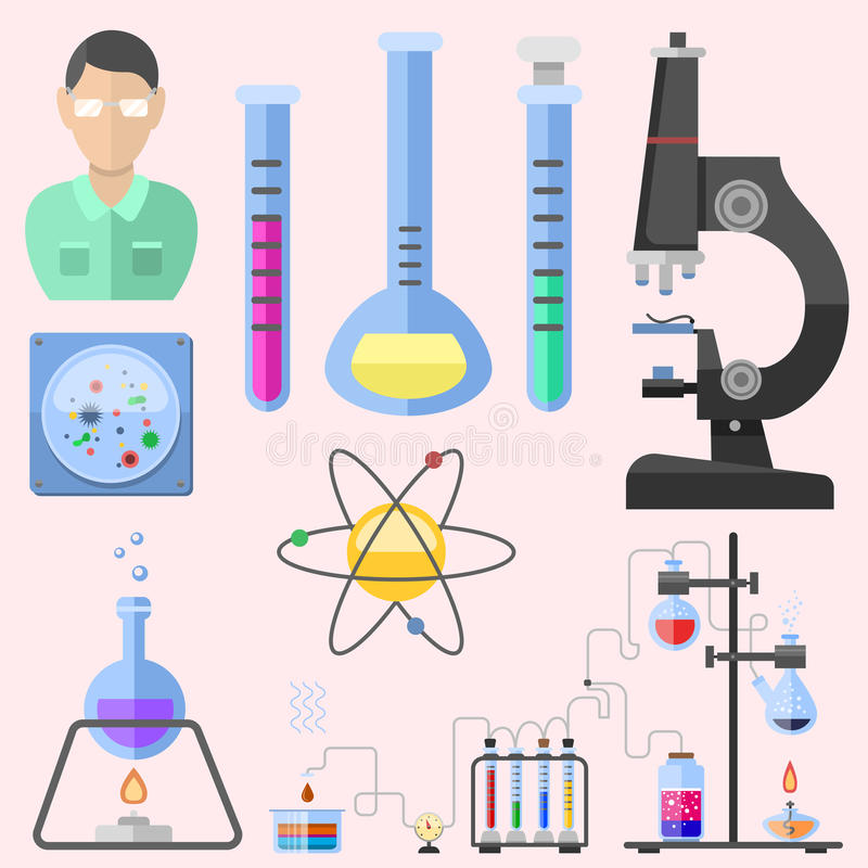 Lab symbols test medical laboratory scientific biology design molecule microscope concept and biotechnology science. Chemistry icons vector illustration stock illustration