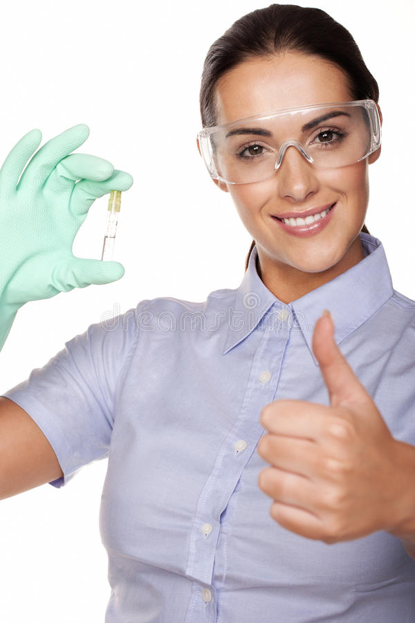 Lab technician giving a thumbs up