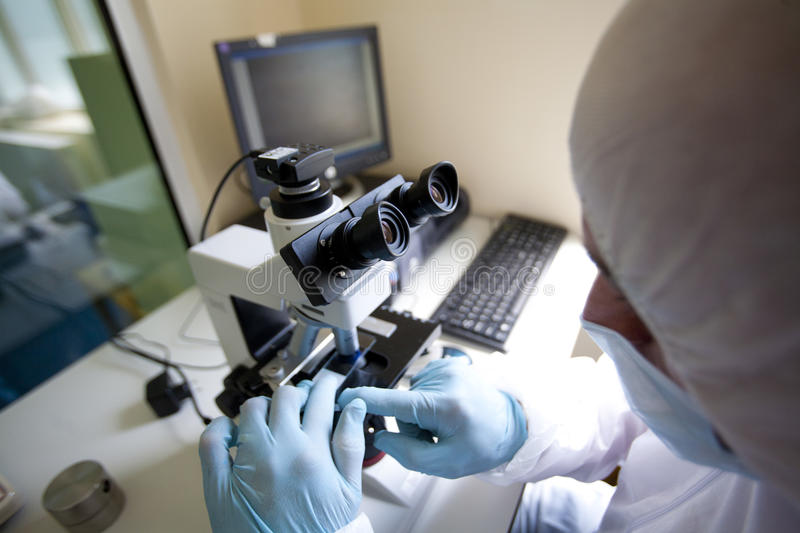 Lab technician performs experiments using a microscope stock photography