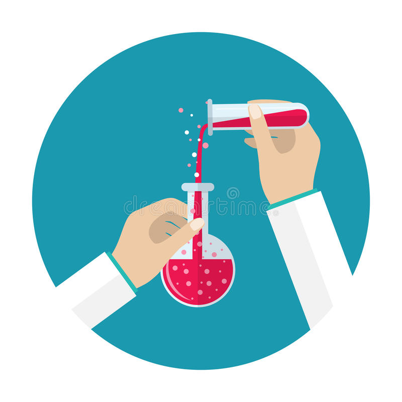 Lab tube icon. Test tube and flask. Science, education, chemistry, experiment, laboratory concept. vector illustration in flat design icon. Hands with tube vector illustration
