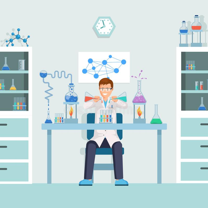 Lab worker doing test vector illustration. Male chemist, researcher mixing liquids in test tubes cartoon character vector illustration