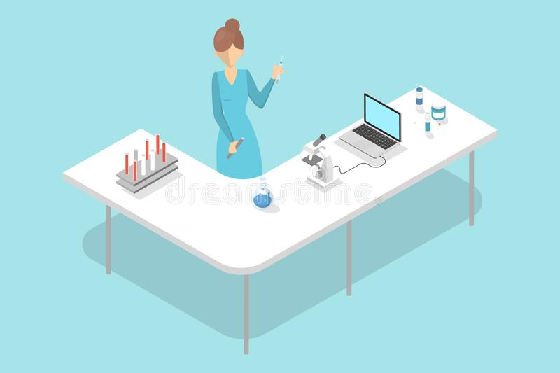 Lab worker making blood test in hospital laboratory. vector illustration