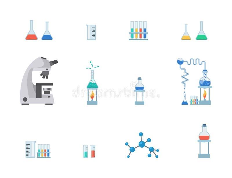 Lab wyposażenia ilustracji płaski wektorowy set Próbne tubki, chemii zlewki z cieczami, pomiarowa filiżanka odizolowywająca na bi ilustracja wektor