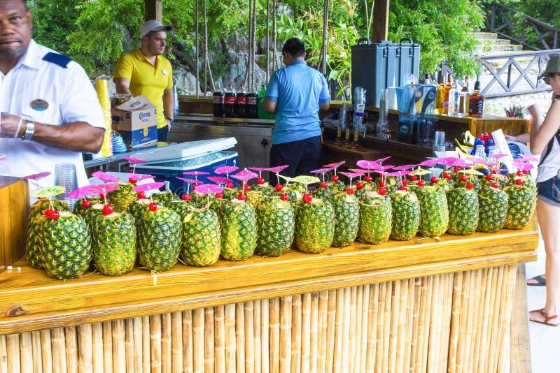 LABADEE HAITI - MAJ 01, 2018: Coctailarna i ananas på stången på den soliga dagen på stranden i Haiti royaltyfria bilder