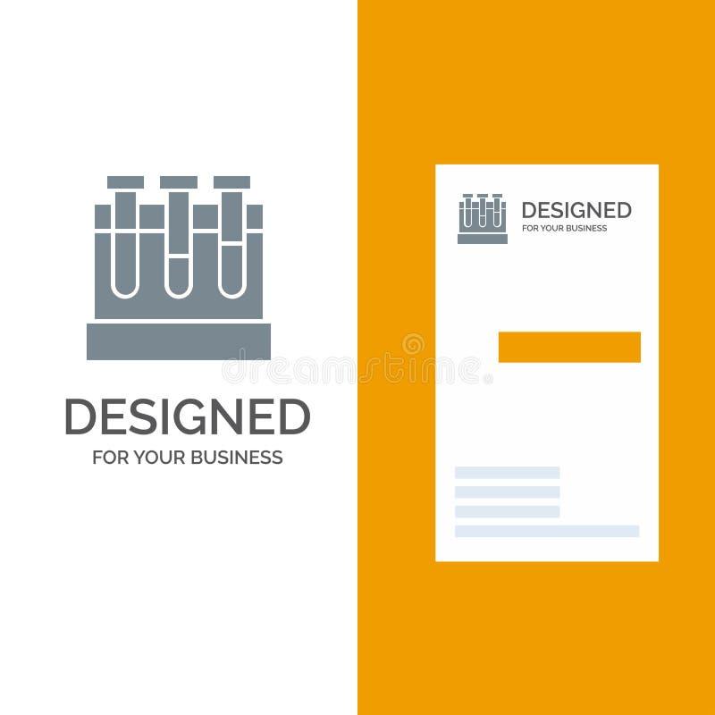 Labbet badar, provet, utbildning Grey Logo Design och mallen för affärskort royaltyfri illustrationer