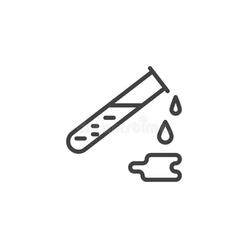 Labbflaska med den fluid översiktssymbolen vektor illustrationer
