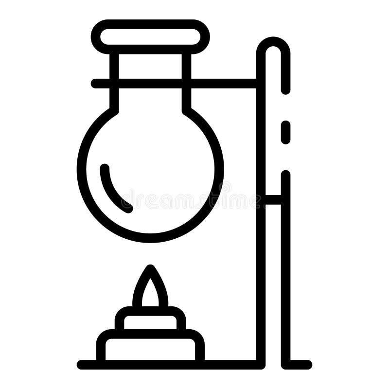 Labbflaska på flammasymbolen, översiktsstil royaltyfri illustrationer