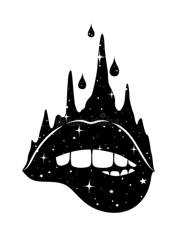 Labbra astratte di fantasia illustrazione vettoriale