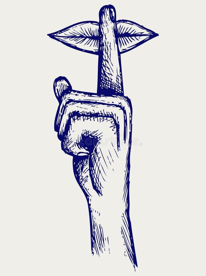 Labbra con il dito che chiede il silenzio illustrazione vettoriale