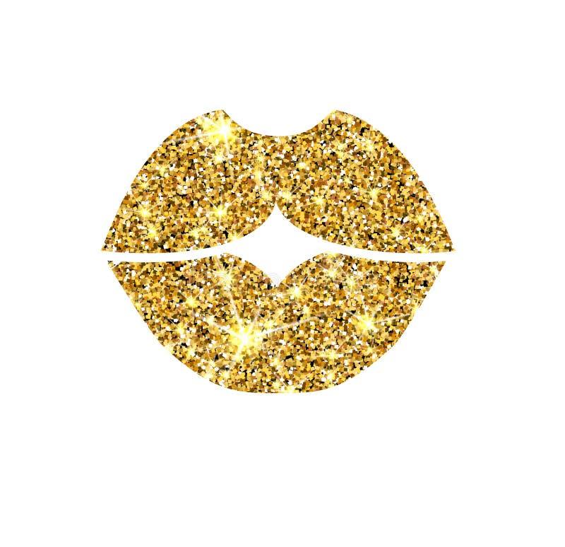 Labbra di vettore di scintillio dell'oro Bacio dorato della scintilla royalty illustrazione gratis